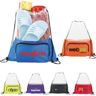 Court Time - Drawstring cinch backpack. 210 denier polyester. Open main mesh-top compartment