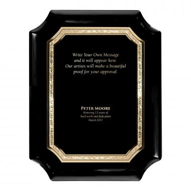 Ebony Notched Engraved Plaque Award