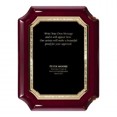 Rosewood Notched Engraved Plaque Award