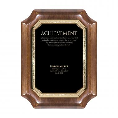 Walnut Notched Engraved Plaque Award