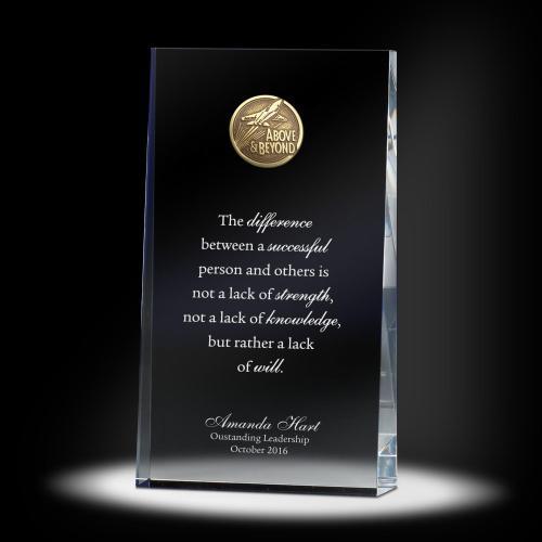 Leadership Wedge Glass Medallion Award