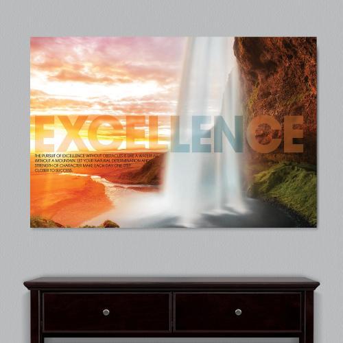 Excellence Waterfall Motivational Art