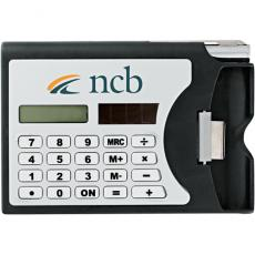 Office Supplies - Network - Solar-powered calculator with built-in business card holder