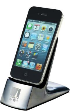 Silver mobile cell phone holder, also holds small electronics and business cards
