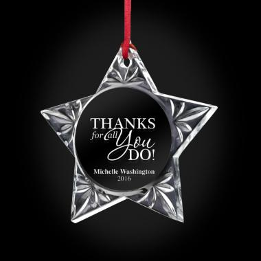 Thanks for All You Do Star Crystal Ornament