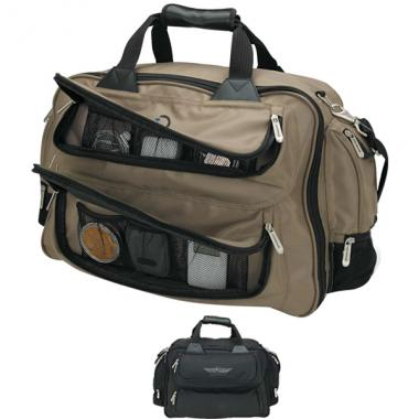 Duffel bag with trolley strap, padded handles and shoulder strap