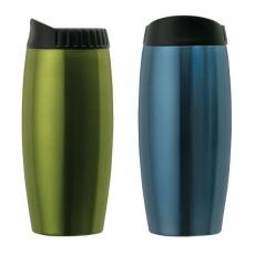 Travel Mugs/Cups - Stainless steel metallic tumbler with contoured lid