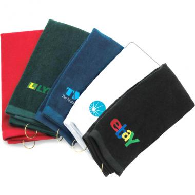 Classic trifold golf towel with grommet and hook