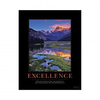 Excellence Mountain Mini Motivational Poster