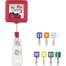 Tradeshow & Event Supplies - Square plastic retractable badge holder with standard clip