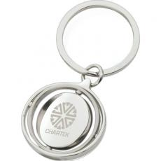 Key Holders General - Shiny nickel finish keyring with spinning gyro rings and circle disk