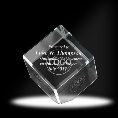 3D Jewel Cut Cube Crystal Award
