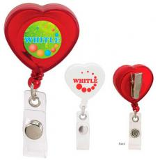 "Tradeshow & Event Supplies - Caring Heart - Retractable heart badge holder with 30"" cord and swivel clip"