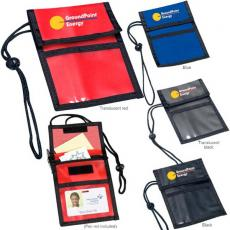 Tradeshow & Event Supplies - Neck wallet with adjustable neck cord and clear plastic view pouch for badge