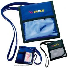 Tradeshow & Event Supplies - Neck wallet with lanyard, cell phone pocket, business card holder, zipper pocket