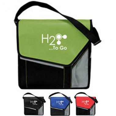 Slant flap messenger bag with front flap and slip pocket with hook & loop closure