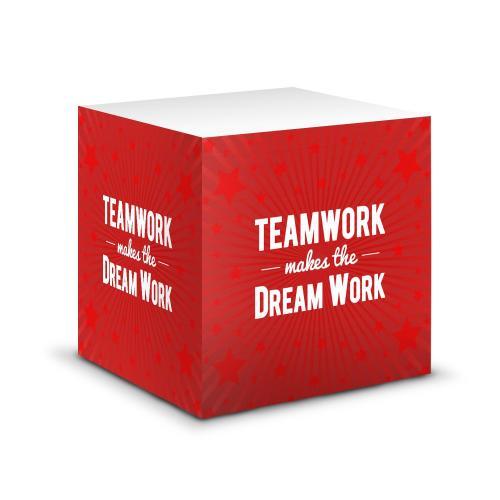 Teamwork Dream Work Self-Stick Note Cube