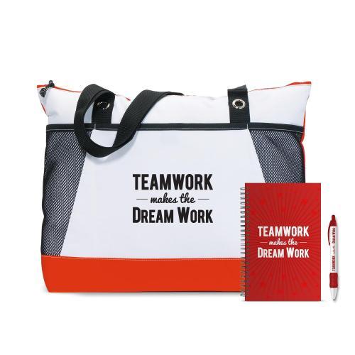 Teamwork Dream Work Motivational Tote Gift Set