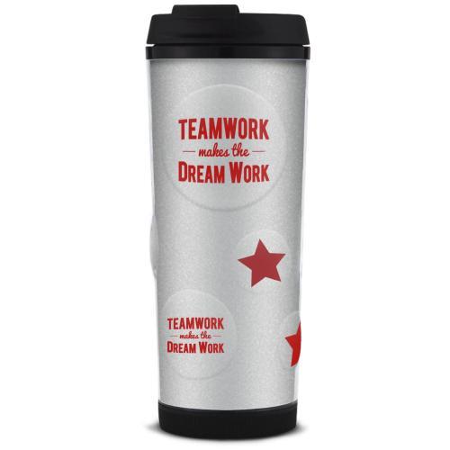 Teamwork Dream Work Glitter Travel Tumbler