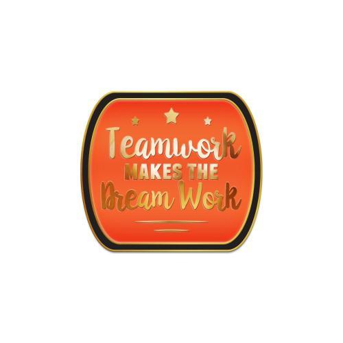 Teamwork Dream Work Orange Lapel Pin