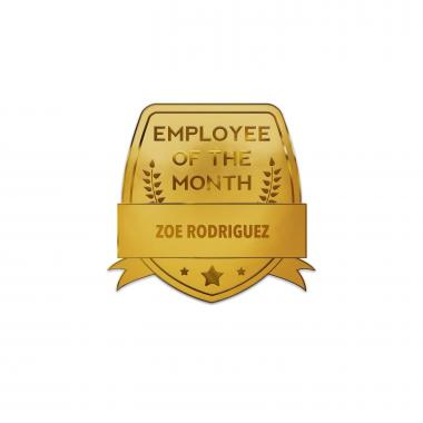 Employee of the Month Shield Personalized Lapel Pin