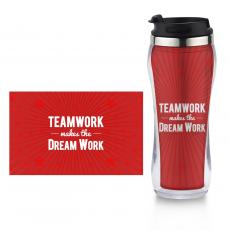 Travel Mugs - Teamwork Dream Work Flip Top Travel Mug