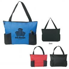 Polyester - Double Pocket Zippered Tote Bag
