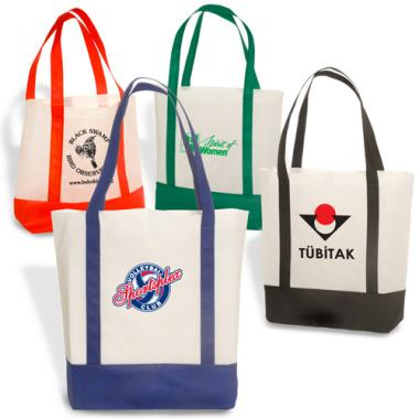 Harborside - Non woven polypropylene tote bag with velcro closure and colored handle