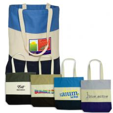 Tote Bags General - Eco-Responsible<sup>™</sup>;Walkabout - Cotton tote with contrasting panels. Closeout