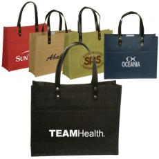 Tote Bags General - Eco-Responsible<sup>™</sup>;Pensacola - Jute tote with front pocket and Velcro closure