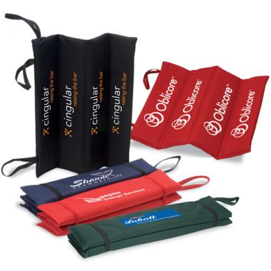LogoTec - Rugged PVC polyester fold up stadium cushion with elastic straps and handle