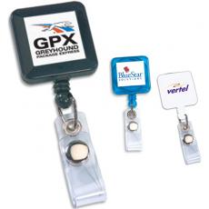 "Tradeshow & Event Supplies - Retract-A-Badge - Square -  Retractable badge holder with 30"" long auto-retract cord"