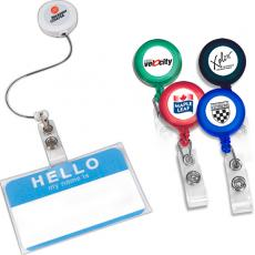 "Tradeshow & Event Supplies - Retract-A-Badge - Round -  Retractable badge holder with 30"" long auto-retract cord"