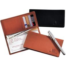 Checkbook Covers - Leeman New York Collection;Walker Street - Full grain leather checkbook holder with pockets for five credit or bank cards