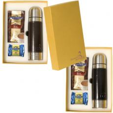 Candy Chocolate - Ghirardelli<sup>®</sup>;Leeman New York Collection - Gift set with leather wrapped thermos, 5 packets of hot cocoa mix and chocolate