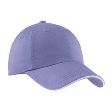 Port Authority<sup>&reg;</sup> - Unstructured low profile cotton sandwich bill cap with striped closure. Blank