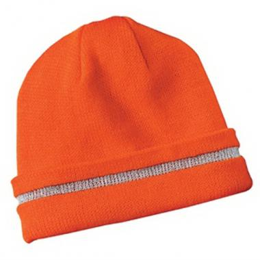 3M(TM);CornerStone (tm);Port Authority<sup>&reg;</sup> - Safety beanie cap with reflective stripe, 100% acrylic. Blank