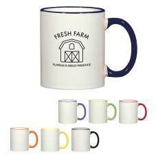 Ceramic & Coffee Mugs - 11 Oz. Colorful Trim Mug