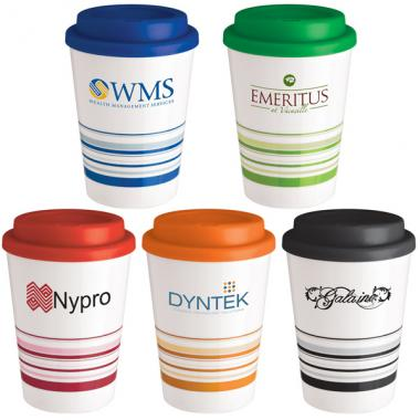 12 oz. Double wall insulated coffee cup tumbler with screw top plastic lid