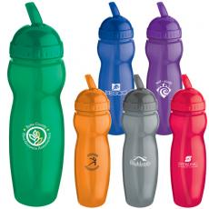 Bottles General - 22 oz. translucent water bottle fits most cup holders with retractable sipper