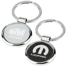 Key Holders General - Round-About - Key tag with chrome metal body has center color plate and split ring