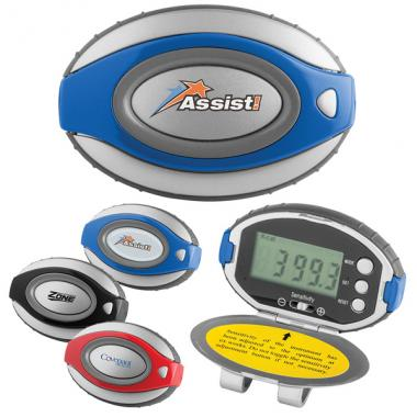 Pedometer/clock  with matte silver case, bold color accents and oval shape