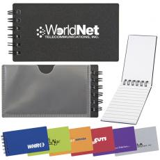 Office Supplies - Mini business card holder and spiral bound jotter has bold translucent colored cover
