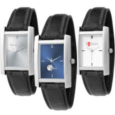 Fashion Accessories - Watch with unisex design, quartz movement, rectangle shape and black band