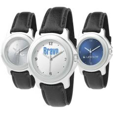 Fashion Accessories - Unisex style watch with silver double ring case, quartz movement and black band