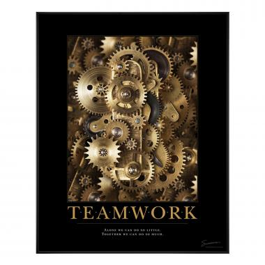 Teamwork Gears Motivational Poster