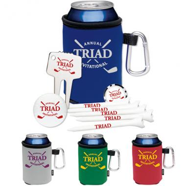 High Roller(TM);KOOZIE<sup>&reg;</sup>;NDX Heat - Golf event kit with golf ball, ball markers, tees, and divot repair tool