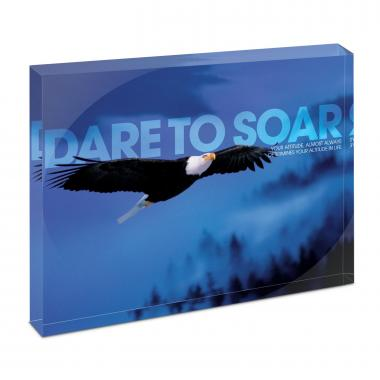 Dare To Soar Eagle Infinity Edge Acrylic Desktop