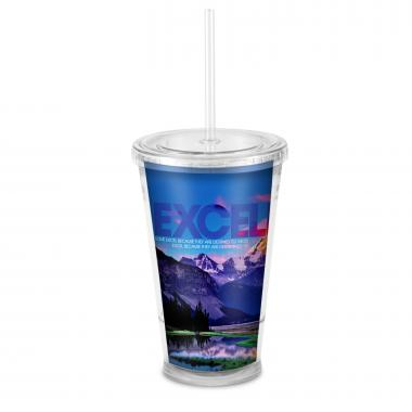 Excellence Mountain 16oz Acrylic Straw Tumbler