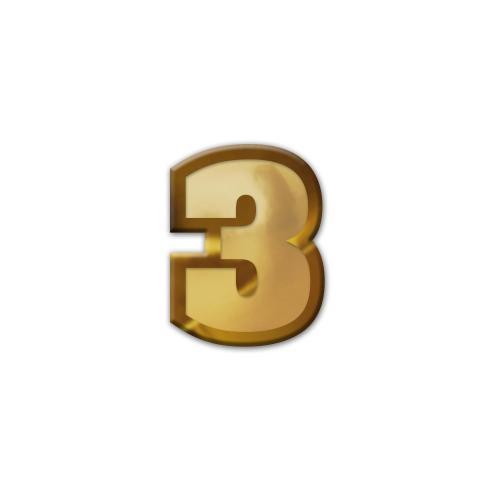 3 Pennant Number Lapel Pin